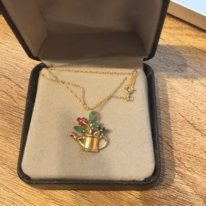 Jewelry - 14k gold necklace sapphires emeralds ruby basket